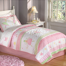 None - Fairy Ballerina Applique 3-piece Quilt Set - These Fairy Ballerina quilts are a collection of applique patches for a whimsical kids quilt.  Each piece is cotton filled and prewashed for a classic soft texture,heirloom quality.