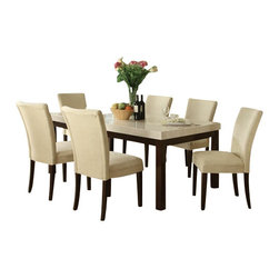 "Acme - 7-Piece Kyle Faux White and Beige Marble Dining Table Set with Microfiber - 7-Piece Kyle faux white and beige marble dining table set fabric upholstered chairs. This set includes the dining table with white faux marble table and 6 - side chairs upholstered in a fabric. Table measures 42"" x 72"" h. chairs measure 39"" h to the back . Some assembly required."