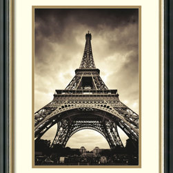 Amanti Art - Marcin Stawiarz 'Eiffel Tower' Framed Art Print 20 x 26-inch - This beautiful print by Marcin Stawiarz will make you feel like you are gazing at the sights from the base of the Eiffel Tower in Paris.