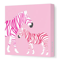 Avalisa - Zebra Canvas in Pink - This collection is full of animal friends. They are friendly, playful and inviting!