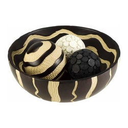 African Crafted Bowl with 3 Spheres - Add texture and exotic style to your home with the African Crafted Bowl with 3 Spheres. This Polyresin carved set includes three spheres nestled within a natural, deep brown and cream bowl with native wave pattern. Includes a larger cream and black sphere as well as one highly textured white and one black sphere. About Ore International, Inc.Ore International, Inc. creates beautiful accent furniture, lighting, and gifts for the home. Their goal is to be the leading provider of innovative, superior home products worldwide. Ore International is based in Santa Fe Springs, California and has a Customer First attitude. Their products are designed to match modern and classic tastes and fit today's homes. From room dividers to lamps, end tables to entertainment centers, you'll discover quality craftsmanship at a fair price in all Ore International products.