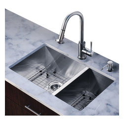 Vigo Industries - 29 in. Undermount Sink and Faucet Set - Includes sink, faucet, soap dispenser, two matching bottom grids, two sink strainers, all mounting hardware and hot-cold waterlines.