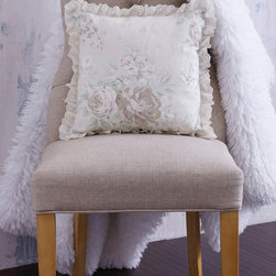 """Eyelet Trimmed Floral Pillow - This pink silk pillow is layered with luxurious snow white crocheted lace. 'Camille Pillow"""""""