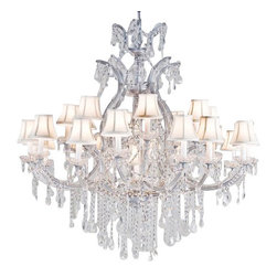 "The Gallery - MARIA THERESA CHANDELIER CRYSTAL CHANDELIERS LIGHTING H52"" X W46"" WITH SHADES! - Maria Theresa 100% Crystal Chandelier. A great European Tradition. Nothing is quite as elegant as the fine crystal chandeliers that gave sparkle to brilliant evenings at palaces and manor houses across Europe. This two-tier version from the Maria Theresa collection is decorated with various 100% crystal that capture and reflect the light of the candle bulbs, each resting in a scalloped bobache. The timeless elegance of these chandeliers is sure to lend a special atmosphere in every home. SIZE: HT 52 X WD 46 LIGHTS: 24 LIGHTS **SHADES INCLUDED** Shipping 75.Assembly Required."