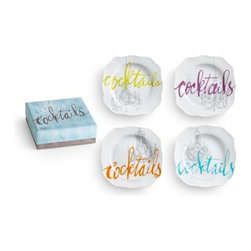 Rosanna - Cocktails Appetizer Plates- Set of 4, By Rosanna - This playful design, celebrating the return of mixology, is the perfect inspiration to unearth classic cocktails and experiment with new liqueurs.