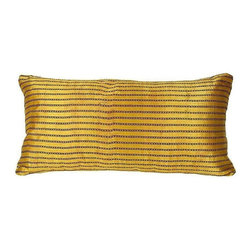 Used Vintage Thai Silk PIllow - Organic yet modern in appearance, this striped throw pillow was hand woven of textured silk in Thailand. The back is covered in a neutral white fabric with three button closures.