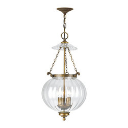 "Crystorama - Camden Hanging Fixture - Ornate Hanging Fixture with Mellon Jars. Takes 3 - 60 w/c bulbs. Chain: 72"" Wire: 120"""