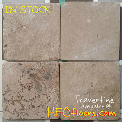 DIY in stock - 6 x 6 tumbled Travertine, in stock, DIY. Other styles and colors are also available at Hardwood Floors Outlet in Murrieta, Ca.