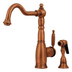 Whitehaus Collection - Antique Copper Whitehaus Deck-Mount Curved Kitchen Faucet - 3-3185