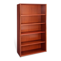 "Jesper Office Furniture - 2000 Series 40"" Wide 5-Shelf Bookcase - This bookcase is available in espresso, cherry, maple, teak finish. Crafted from real wood veneer with thick solid wood edges for durability, the Jesper Office 2000 Series 40"" Wide 5-Shelf Bookcase has pre installed levelers and 4 adjustable shelves."