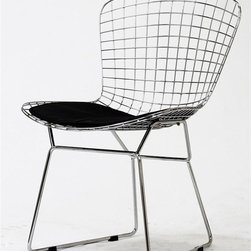 East End Imports - CAD Wire Chair in Silver Frame w Black Cushio - Makes an excellent accent chair. Often used in small spaces. Made of a wide mesh chrome design and fitted with a PU leather cushion. Measurement:. Seat Height: 16 in.. Seat Depth: 17 in.. Seat Width: 20 in.. 20 in. W x 17 in. D x 34 in. H