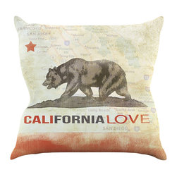 "Kess InHouse - iRuz33 ""Cali Love"" Throw Pillow (16"" x 16"") - Rest among the art you love. Transform your hang out room into a hip gallery, that's also comfortable. With this pillow you can create an environment that reflects your unique style. It's amazing what a throw pillow can do to complete a room. (Kess InHouse is not responsible for pillow fighting that may occur as the result of creative stimulation)."