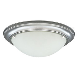Progress - Progress Eclipse Flush Mount Ceiling Fixture in Brushed Steel - Shown in picture: Close-to-ceiling fixture with satin-white glass with 120V/277V HPF electronic ballast.