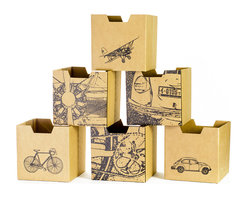 Quark Enterprises - City-Print Cardboard Cubby Bins, 6-Pack - Sprout cardboard cubby bins offer simple, modern, and practical design. Made from recycled cardboard, these bins will help to organize your child's life. Designed for use in the Sprout Cubby, you can store books, toys and more in these fun storage bins. More economical than plastic and canvas bins, Sprout cubby bins feature fun graphic designs, and add a unique touch to any playroom, bedroom or nursery.