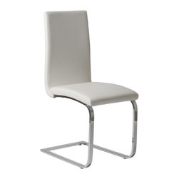 Euro Style - Santos Dining Chair in White - Set of 2 - Set of 2. White Leatherette over foam seat and back. Chromed steel base. 16.5 in. W x 21.5 in. D x 39 in. H (24.3 lbs.)Grand ideas for small spaces, the smooth and clean geometric shapes give your rooms a trendy, up-to-date look. The furniture design make your rooms stylish and sophisticated, symbolizing your self confidence.