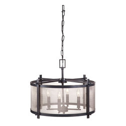 "Zuo Modern - Gabbro Ceiling Lamp by BSEID - An antiqued black chandelier frame is connected with a fine mesh allowing four candelabra bulbs to filter soft light. From a rustic to contemporary setting, the Gabbro Ceiling Lamp will beautifully light a multitude of spaces. (ZM) 23.4"" Diameter x 11.6"" High E12 Type BA max.40W bulbs included UL listed"
