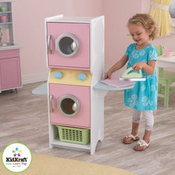 KidKraft Laundry Playset - Pink - Your little girl will love playing house with the adorable KidKraft Laundry Playset - Pink. Modeled after space-saving stackable washer/dryer sets this cute playset has tons of interactive features to engage your child. The two blue knobs click and turn the washer and dryer doors open and close and there's also a chalkboard surface on the side to make to-do lists. The see-through porthole windows allow your child to see what's in each machine and also open and close. The folding station ironing board pretend iron and storage space below complete this laundry workstation. About KidKraftKidKraft is a leading creator manufacturer and distributor of children's furniture toy gift and room accessory items. KidKraft's headquarters in Dallas Texas serves as the nerve center for the company's design operations and distribution networks. With the company mission emphasizing quality design dependability and competitive pricing KidKraft has consistently experienced double-digit growth. It's a name parents can trust for high-quality safe innovative children's toys and furniture.