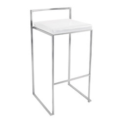 Lumisource - Fuji Stacker Bar Stool White - The simple elegance of the Fuji Bar Stool belies its astonishing comfort. Lightweight stainless steel legs and backrest support a thick padded leatherette cushion. Features a stackable design for easy storage. With its simple elegance, the Fuji bar stool is sure to match any decor.