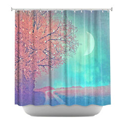 DiaNoche Designs - Shower Curtain Artistic - Song of the Morningbird - DiaNoche Designs works with artists from around the world to bring unique, artistic products to decorate all aspects of your home.  Our designer Shower Curtains will be the talk of every guest to visit your bathroom!  Our Shower Curtains have Sewn reinforced holes for curtain rings, Shower Curtain Rings Not Included.  Dye Sublimation printing adheres the ink to the material for long life and durability. Machine Wash upon arrival for maximum softness. Made in USA.  Shower Curtain Rings Not Included.