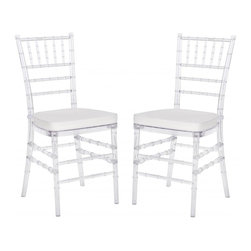 Safavieh - Carly Side Chair (Set Of 2 ) - Whether glamorizing a wedding, anniversary, ballroom or an intimate dinner at home, the elegant Carly Side Chair dresses up your special occasion in style.  A 21st century adaptation of the 200-year old Chiavari chair (named after Italian Riviera town of Chiavari where it was first designed), the classic bamboo-patterned frame is molded of sturdy but lightweight PC resin for indoor-outdoor use.  Sold in sets of two, each with plush, detachable tie-on cushion and crystal clear frame, Carly is priced to own at less than you�d pay for a one-time party rental.