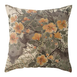 """Poetic Pillow - Orange Blossoms Pillow P2 - 26"""" Euro Pillow - This pillow was inspired by the fine works of art in imperial China. From Tang dynasty to Qing dynasty, we found beautiful calligraphic works depicting botanical floras, cultural traditions, landscape and scenic views. Transform any space with a pillow from Poetic Pillow. Each pillow is inspired by fine works of art and printed on the front and back. Covers are made of pre-shrunk satin-like polyester fabric. All seams are finished to prevent fraying and pillow covers have a knife edge finish. A concealed zipper allows for ease of inputting pillow inserts. A duck feather insert is included for soft yet supportive feel. Cushion inserts are encased in a cotton cover and filled with 100% duck feather for soft yet supportive feel. All research, design and packaging is completed in Oakland, California."""