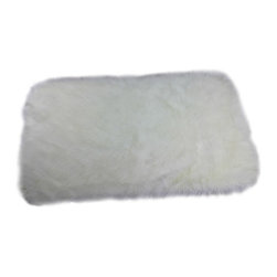 Fur Accents - Faux Sheepskin Accent Rug, Rectangle Runner with Rounded Corners, Off White, 4x4 - Luxurious Faux Flokati Sheepskin Accent Rug. Soft, Shaggy, Off White Faux Animal Pelt Area Carpet. Rectangle Design Runner with Soft Rounded Corners. Made from 100% Animal Free and Eco Friendly Fibers. Perfect for any room in the houzz. Bedroom, Living Room, Dining room, Bathroom, Den or Nursery.  Tastefully lined with real Ultra Suede. Luxury, Quality and Unique Style for the discriminating designer and decorator.