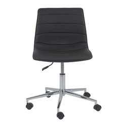 Euro Style - Asuka Modern Office Chair (Black) - Color: BlackSwivel and gas lift. Chromed steel base. Upholstered leatherette seat and back. 1-Year manufacturer's warranty. 25 in. W x 25 in D x 31 in. H (15.4 lbs.)Grand ideas for small spaces, the smooth and clean geometric shapes give your rooms a trendy, up-to-date look. The furniture design make your rooms stylish and sophisticated, symbolizing your self confidence.