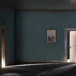 The Barrister's Bedroom - Original Photography by Eric L Hansen - The dollhouse in this dream-like photograph is circa 1900s and measures three feet high by four feet wide. The photographer uses a variety of lenses, perspectives, lighting and digital techniques to create a sense that the rooms are real but at the same time disturbingly not real.