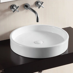 Caracalla - Circular White Ceramic Vessel Bathroom Sink - Modern design, round white ceramic vessel bathroom Sink with no hole. Chic above counter washbasin comes without overflow. Made in Italy by Caracalla. Made out of white ceramic. Contemporary style. Without overflow. Standard drain size of 1.25 inches.