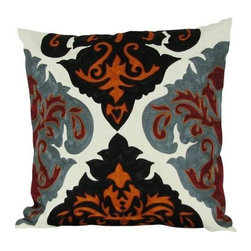 Design Accents Arabic Damask Pillow - Rusty - There's nothing rusty about the stylized look and contemporary charm of the Design Accents Arabic Damask Pillow - Rusty. Made of quality cotton to ensure durable, lasting beauty. The damask-inspired, chain-stitch design is distinctively modern and features vibrant, warm colors. Make a statement on your bed, sofa, or chair.