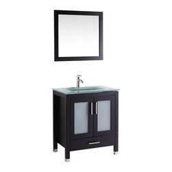 "Vanova - Vanova VA102-30E Espresso Cabinet, Basin & Mirror Brown Vanity - Our stylish floor standing all wood vanity includes a frosted glass top with an integrated rectangular sink. Frosted glass soft closing doors and single bottom drawer with matching mirror.  Color: Espresso,Vanity:30""W x 20""D x 36""H,Mirror:19""W x 27""H,Includes:Cabinet-frosted glass basin & mirror,Hardware:Soft-closing doors and drawer,Faucet & drain not included"