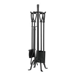 Olde World Iron Loop Handles Fireplace Tool Set - Black - Simple lines and Old World craftsmanship combine to create a fireplace set perfect for traditional hearths. Loop handles are made from durable iron to withstand years of use.