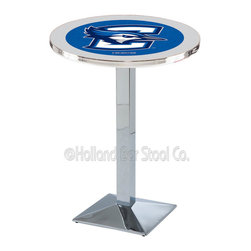 Holland Bar Stool - Holland Bar Stool L217 - Chrome Creighton Pub Table - L217 - Chrome Creighton Pub Table belongs to College Collection by Holland Bar Stool Made for the ultimate sports fan, impress your buddies with this knockout from Holland Bar Stool. This L217 Creighton table with square base provides a commercial quality piece to for your Man Cave. You can't find a higher quality logo table on the market. The plating grade steel used to build the frame ensures it will withstand the abuse of the rowdiest of friends for years to come. The structure is triple chrome plated to ensure a rich, sleek, long lasting finish. If you're finishing your bar or game room, do it right with a table from Holland Bar Stool. Pub Table (1)