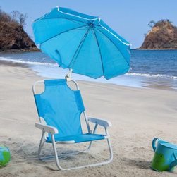 W C Redmon - Kids Blue Beach Chair & Umbrella - 9001BL - Shop for Chairs and Sofas from Hayneedle.com! Give your child the Kids Blue Beach Chair & Umbrella and protect her or him from the sun's harmful rays. Kids love toting their very own chair to the beach on a camping trip to a picnic or on family outings. The Kids Blue Beach Chair & Umbrella is lightweight and easy to transport. It folds into a compact flat unit for storage when not in use. Its nylon material is durable and washable.The permanently attached umbrella is not removable - it's adjustable to several angles providing shade throughout the day. It features white piping around its material. All seams are double stitched for durability. The frame is metal tube with baked scratch-resistant enamel for weather protection and wear. The Kids Blue Beach Chair & Umbrella weighs less than 3 lbs.
