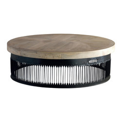 Kathy Kuo Home - Knoll Large Industrial Loft Chunky Wood Round Coffee Table - This generously-sized, gorgeous natural wood tabletop crowns a ring of slatted metal, finished in lustrous black. The effect is a fantastic focal point for any industrial loft or modern living room. Sleek and elegant, this oversized artwork is impressive in any space.