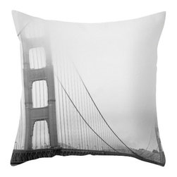 Maybe Sparrows Place - Golden Gate Bridge Pillowcase - Let this soft, moody image of San Francisco's most famous bridge adorn your even softer sofa. Ashley of Maybe Sparrows certainly knows how to capture a dramatic natural scene.