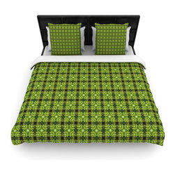 "Kess InHouse - Matthias Hennig ""Floral Green"" Floral Geometric Fleece Duvet Cover (Queen, 88"" x - You can curate your bedroom and turn your down comforter, UP! You're about to dream and WAKE in color with this uber stylish focal point of your bedroom with this duvet cover! Crafted at the click of your mouse, this duvet cover is not only personal and inspiring but super soft. Created out of microfiber material that is delectable, our duvets are ultra comfortable and beyond soft. Get up on the right side of the bed, or the left, this duvet cover will look good from every angle."
