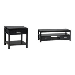 Linon - Linon Sutton Black Coffee Table and End Table Set - Linon - Coffee Table Sets - 8402PKG - Linon Sutton Contemporary Coffee Table in Black