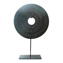 """Golden Lotus - Chinese Round Stone Disc Fengshui Display Decor Hcs580-6 - This is a stone carved round shape decoration display on a metal stand. Round symbolizes complete, smooth and harmony. Stone is one of the five element - earth. The theme is Chinese character """" longevity """" ."""