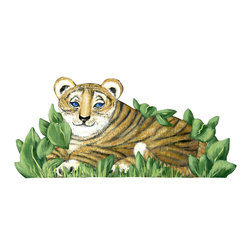 jungle tiger laying - laying baby tiger size is