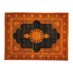 1800-Get-A-Rug - Overdyed Orange Cast Persian Kerman Worn Hand Knotted Rug Sh17682 - The Overdyed and Patchwork hand knotted rug, represents one of the hottest trends in the industry today. Each Overdyed rug is stripped of its original colors, then dyed again in vibrant hues, to create unique and one-of-a-kind pieces. The Patchwork rug is handcrafted out of salvaged, vintage carpets, with a variety of colors combining to form a wholly unique and textured design.