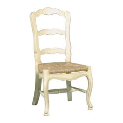 French Country Ladderback Side Chair - Set of 2 - The family cow is peaking her head into the split door of your cottage and trying to lick the butter while you and a friend sit and laugh comfortably in your French Country Ladderback Side Chair - Set of 2. With these chairs in the room it's easy to pretend you are in a movie taking place in the French countryside. Thus the name of the chair. No matter where you live you can bring a bit of romance and pastoral quality of life to your rooms with these chairs. They get their personality from the shaped back slats and seat rails cabriole legs and woven rush seats. Just as in the olden days these chairs were made with hand shaping and hand carved beading.About Furniture Classics Ltd.Based in Norfolk Va. Furniture Classics Ltd. is dedicated to producing authentic solid wood antique reproduction furniture. The Furniture Classics line of furniture comprises pieces that complement each other to ensure a cohesive look in your home. In addition each piece of furniture has been designed to be able to stand alone and blend in with today's modern eclectic decor allowing every customer to enjoy the beauty of antique style. By combining traditional construction techniques with modern innovations Furniture Classics is able to create high-quality sturdy pieces that have the beauty and longevity to become true family heirlooms.