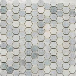 Hexagon Mosaic Tiles - hexagon mosaics, mosaic tiles, shower floor tile, vintage tile, bathroom tile, shower accent tile, slip resistant tile, how to clean tile, marble tile, crema marfil tile, polished mosaics, matte tile, honed tile, hexagon floor tile