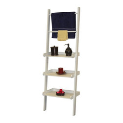 River Ridge - Ladder Shelf in White Finish - Handy, sturdy ladder style shelving with towel bars. Securely attaches to wall. Each Shelf holds up to 12 pounds. Made from painted MDF and wood composite. Assembly required. 20 in. W x 12 in. D x 59.25 in. H (17 lbs.)Used in other areas of the home for extra storage space. RiverRidge Home offers three shelves and two towel bars.