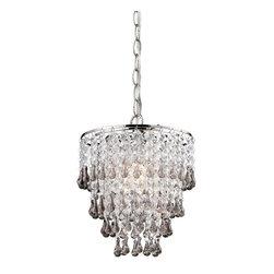 Sterling Industries - Sterling Industries 122-006 Teak And Clear Crystal Pendant Lamp - Pendant (1)