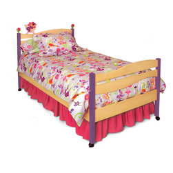 Magic Garden Twin Bed, Natural - Fairies and flowers play on the headboard waves of this quality twin bed, made of solid hardwood and birch veneer finished with brightly colored stains. Includes headboard, footboard, rails, mattress slats, 4 sturdy casters, and finials.