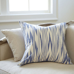 "Ballard Designs - Zig Zag Pillow with Insert - Knife-edge. Hidden zipper. Plush feather down insert. It a touch of Ikat, a little flame-stitch and a lot of style. Our 20"" Square Zig Zag Pillow is hand finished in linen/cotton blend for the visual punch of a geometric and cornflower blue. Zig Zag Pillow features: . . ."