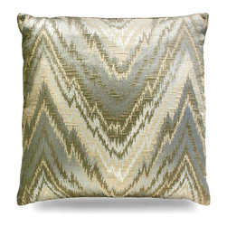 """Chevron Metallic Pillow - 24"""" - A subtle traditional pattern with shimmering earth tones give a visual pop to your armchair, daybed, or window seat. Instantly catching the eye as it catches the light, the Chevron Metallic Pillow is an impressive accent for any space you decide to grace it with."""