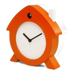 Progetti - Home Sweet Home 2180 Orange/White Wall Clock - Home Sweet Home is a tabletop cuckoo that stems from living of his designer, from the emotional relationship created with everyday objects reshaped with new features. A witty object, a soft lines little house that colors and souls desks, shelves, bedside tables for a gentle awakening. The dial, with black hands, and chimney are always white while the cuckoo case can be in a single color (red or green) or with orange front and white back. Made in wood. Battery quartz movement. The Cuckoo strike is switched off automatically during the night controlled by a light sensor.
