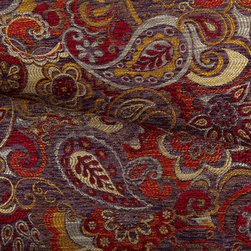 Vagabond paisley upholstery fabric in Plum/Raspberry - Vagabond discount designer paisley upholstery fabric in Plum/Raspberry. Simple paisley upholstery fabric in plum and raspberry with gold and silvery-taupe accents. Soft hand and a weighty feel.  Great for accent pillows and light upholstery.